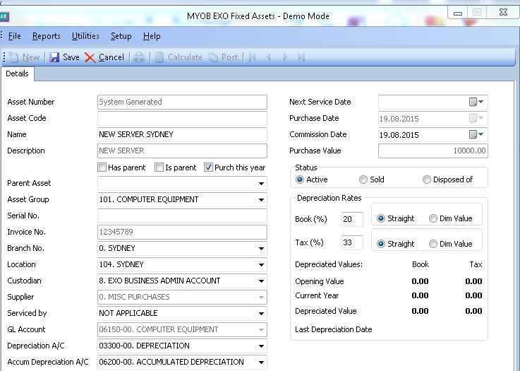 fixed assets demo